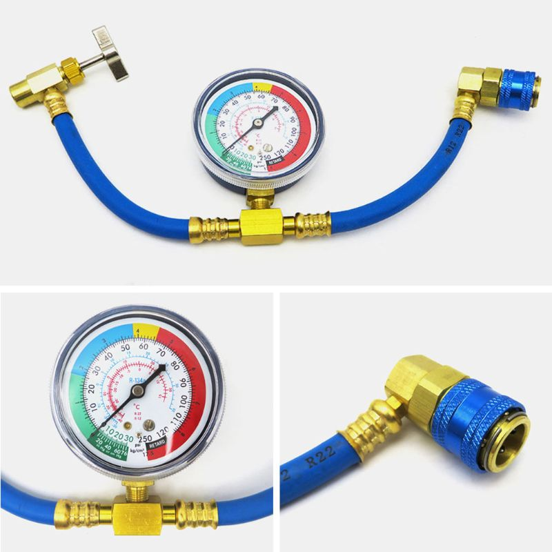 R134A Air Conditioner Fluoride Tube Quick Release Refrigerant Connector Cold Pressure Gauge Repair Tool Car Home Use Brand New image