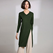 2019 Autumn Winter Women's Casual Loose Over Knee Long-sleeved Cashmere Wool Dress Knit Skirt V-neck Warm Soft Straight Dresses(China)