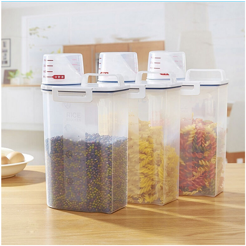 New Food Storage Box Clear Container Set With Pour Lids Kitchen Food Sealed Snacks Dried Fruit Grains Tank Storage Cereal Box