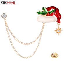 цена на Lovely Enamel Christmas Hat Brooches for Women Accessories Fashion Gold Tassel Chain Crystal Star Rhinestone Brooch Pins Metal Alloy Men Badge Luxury Jewelry Prevent Exposure Cardigan Button Pin Friendly Christmas Gift
