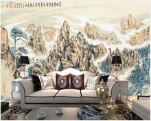 Custom mural 3d wall mural on the wall Chinese ink painting mountain peak scenery home decor photo wallpaper in the living room(China)