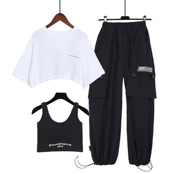 Women Tracksuit 2 Piece Set Hip Hop Crop Top Pants Fashion Female Casual Sports Harajuku Style Two-piece Suit Women Tops 2 piece set women sports suit female summer 20 new loose hip hop foreign fashion two piece set tide two piece set top and pants