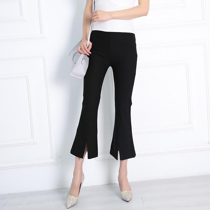 2019 Autumn And Winter New Style WOMEN'S Dress Casual   Pants   Slit Bell-bottom   Pants   Women's   Capri   Wide-Leg WOMEN'S   Pants   Yiwu Man