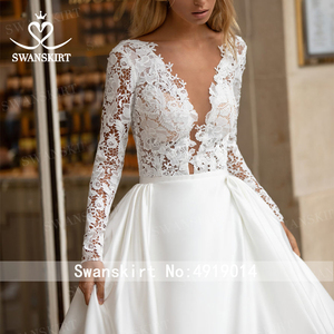 Image 5 - SWANSKIRT Vintage Lace Wedding Dress 2020 V neck Long Sleeve A Line Train Princess Customized Bridal Gown Vestido de novia I322