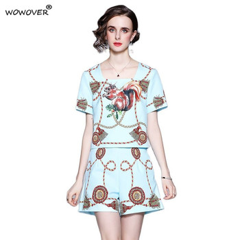 Women's Fashion Runway Two Piece Sets for Summer Elegant Lady Square Collar Print Top Suits with Shorts Casual Outfit Streetwear 1
