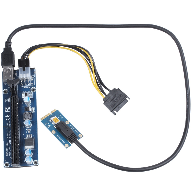 Usb 3.0 Mini Pci-E To Pcie Pci Express 1X To 16X Extender Riser Card Adapter Sata 6Pin 60Cm Power Cable For Bitcoin Btc Mining