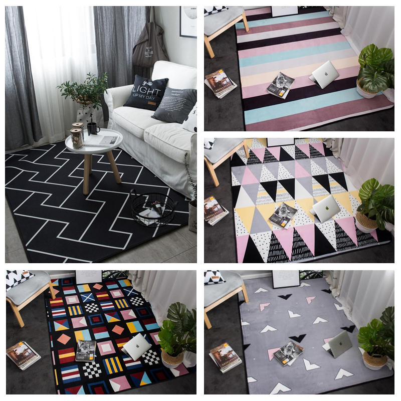Korean Flannel Rugs And Carpets For Home Living Room Non-slip Washable Coffee Table Bedroom Area Children's Rug Blue 95x95cm