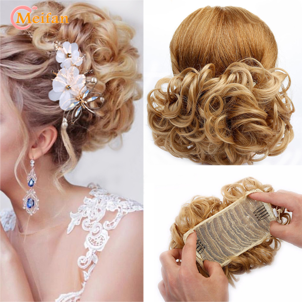 MEIFAN Elastic Net With Combs Curly Chignon Updo Cover Ponytail High Temperature Fiber Synthetic Black Brown Color Fake Hair Bun