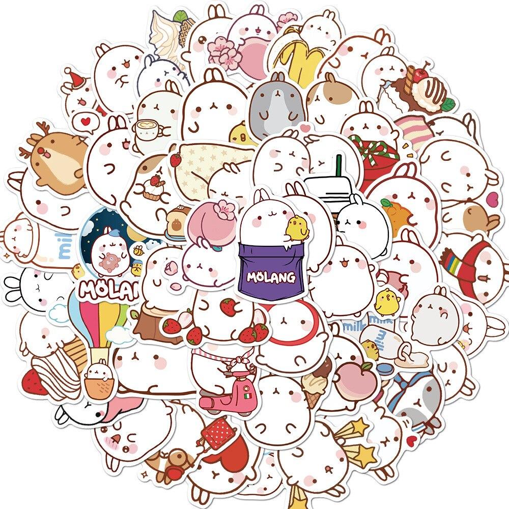 50 шт./компл. милые Molang кролик японского аниме Водонепроницаемый ПВХ Стикеры s Скрапбукинг DIY стикер для канцелярских товаров Стикеры Kawaii Jounal ...