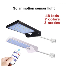 Upgraded led Solar wall Light With 3 Modes 7 Color Remote Control Waterproof Motion Sensor Lamp Lights For Outdoor Garden Street