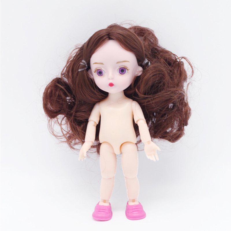 New Purple Eyes 13 Movable Jointed Dolls Toys Mini 16cm BJD Baby Girl Doll Naked Nude Body Cute Dolls Toy For Girls Gift