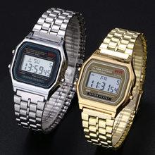 Kobiety mężczyźni Unisex zegarek złoty srebrny czarny Vintage LED sportowe cyfrowe wojskowe zegarki na rękę elektroniczny cyfrowy prezent prezent męski
