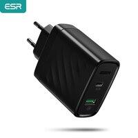 Chargeur USB C PD ESR 36W chargeur double Port chargeur mural Portable pour iPhone X/XS/XR/XS Max iPad Pro 2018