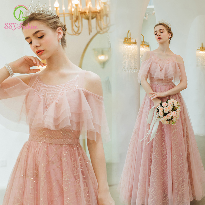 SSYFashion New Sweet Pink Prom Dress Banquet Elegant Floor-length Sequins Beading Long Evening Formal Gown Vestidos De Noche
