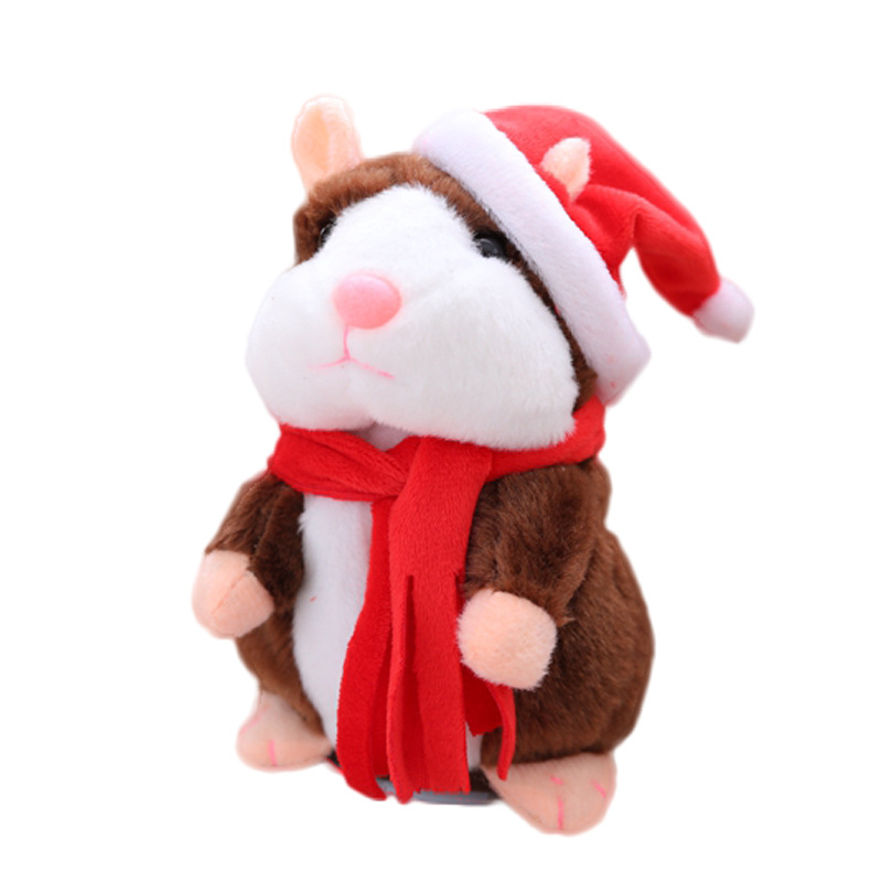 1PC Funny Talking Hamster Plush Toy Repeats What You Say Mimicry Pet Toy Electronic Hamster Stuffed Toy for Kids Gift