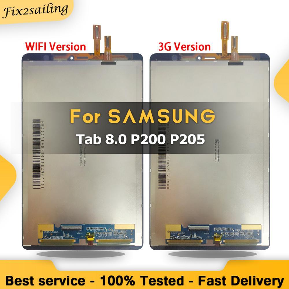 ЖК-экран 8,0 дюйма для Samsung Galaxy Tab A 8,0, 2019, P200(Wi-Fi), P205(3G) SM-P200, цифровой преобразователь сенсорного ЖК-экрана в сборе