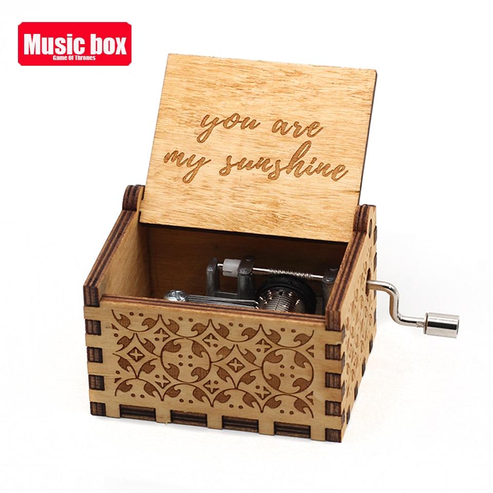 Лидер продаж деревянная ручка музыкальная шкатулка игра трон Пираты Кариб Звездные войны замок Inthe Sky Рождественский подарок - Цвет: You are my sunshine