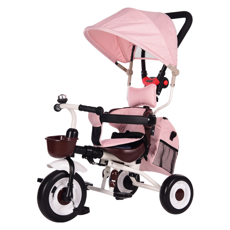 1-5 Years Old Kids Reversible Tricycle Baby Bicycle Pedicab Baby Hand Push Portable Folding Trike Stroller