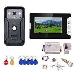 7 cal wideo domofon do drzwi System RFID z HD dzwonek do drzwi 1000TVL kamera z domu ze stali nierdzewnej elektroniczny zamek do drzwi