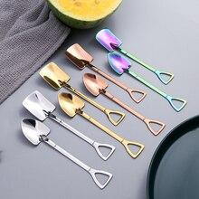Unibird 1Pc Creative Shovel Coffee Spoon Stainless Steel Ice Cream Tea Dessert Spoons for Kids Kitchen Accessories