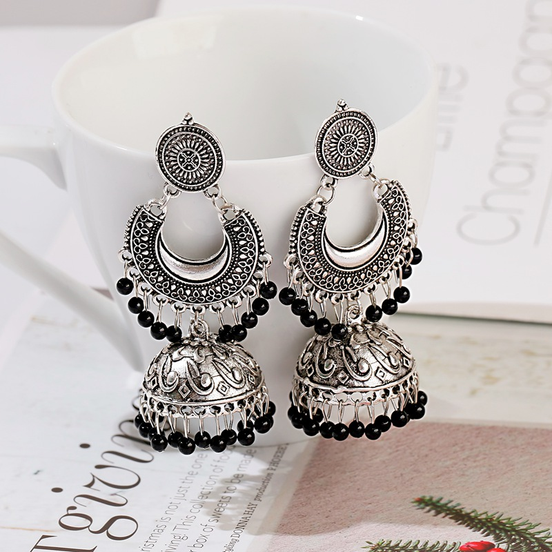 New Retro Sector Silver Color Turkish Bells Indian Jhumka Earrings Women's Vintage Turkey Boho Beads Tassel Earrings