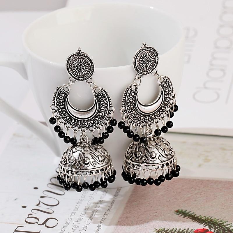 New Retro Sector Silver Color Turkish Bells Indian Jhumka Earrings Women's Vintage Turkey Boho Beads Tassel Earrings