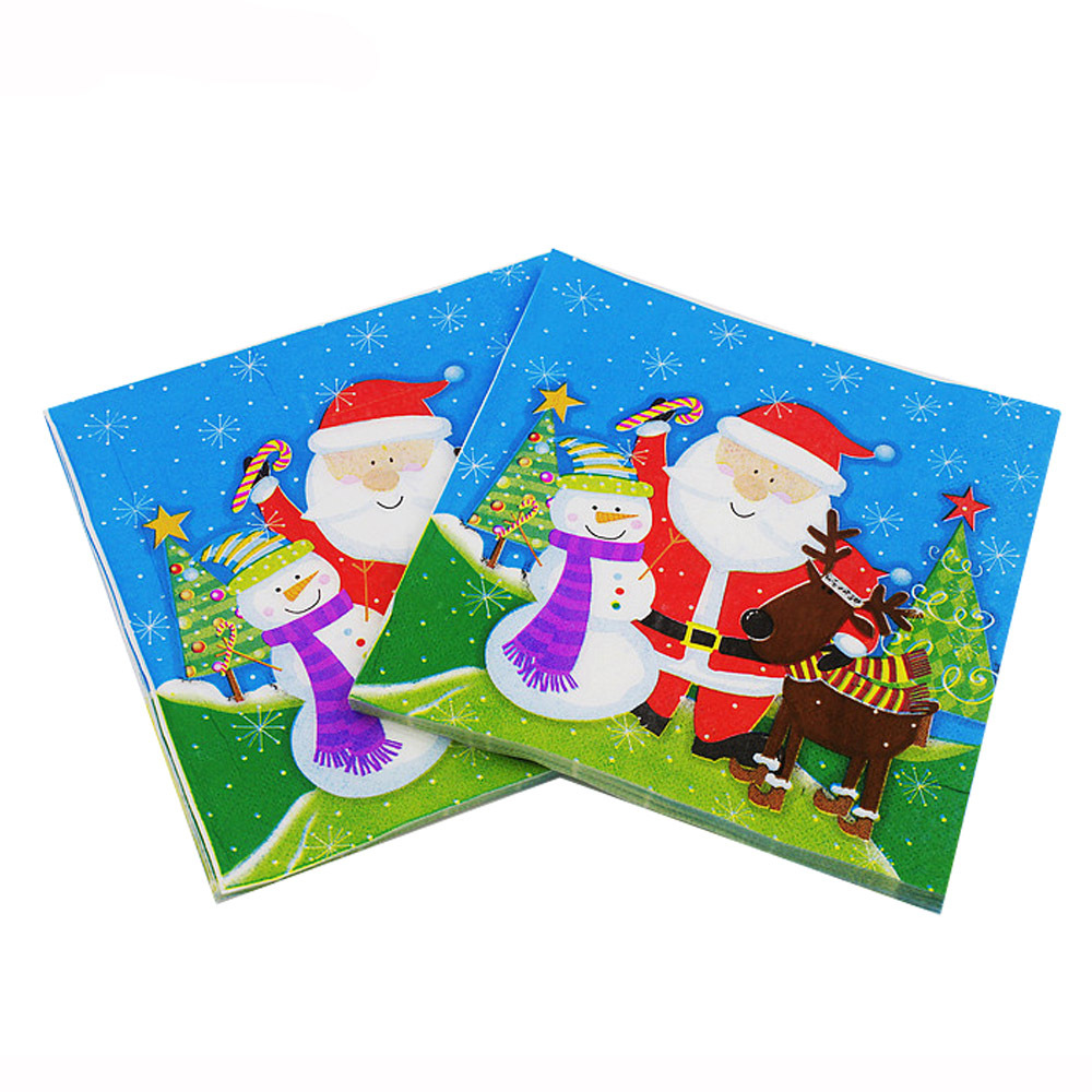 [] 2018 Color Printed Napkin Christmas Party Paper Santa Claus Restaurant Decorations