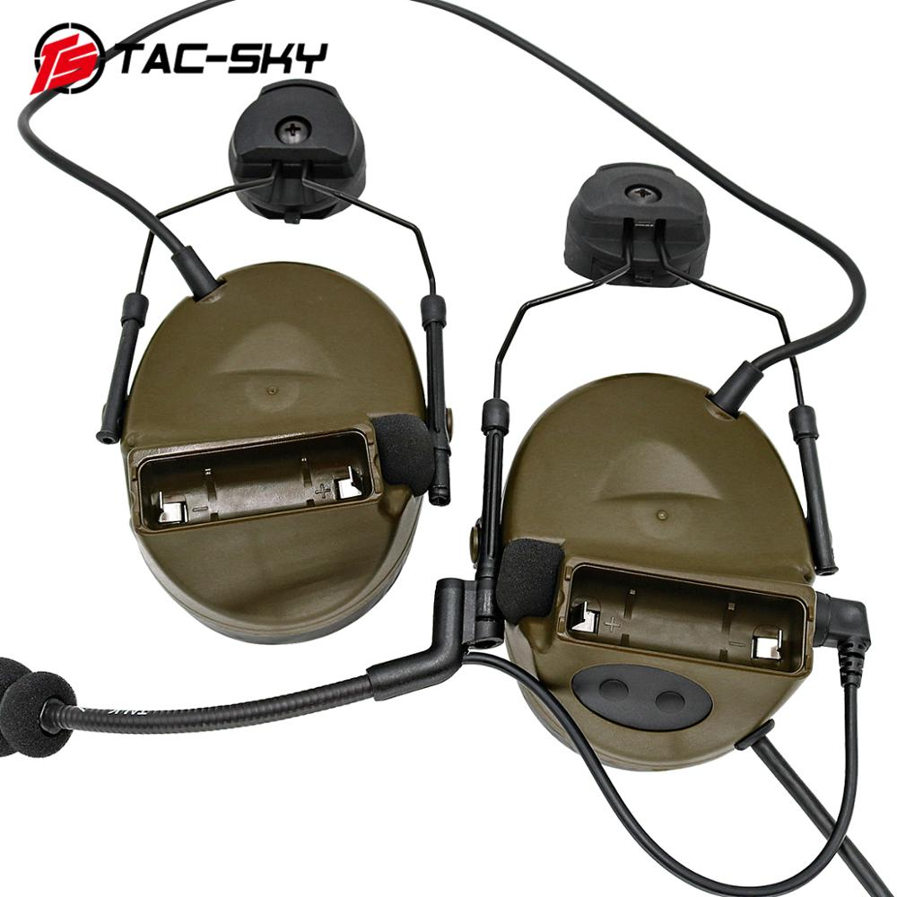 TAC -SKY PELTOR Series COMTAC COMTAC II Helmet Bracket Silicone Earmuffs Noise Reduction Pickup Tactical  Headphones Comtacii FG