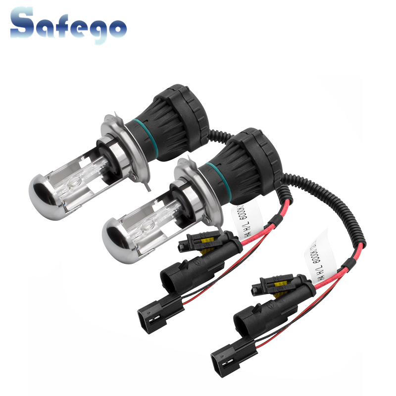 Safego 1 Pair H4 AC 35W HID Bixenon Car Headlight Bulbs H4 3 HID Bi Xenon Lamp Hi/Lo Beam 4300K 6000K 8000K 12V 3200LM-in Car Headlight Bulbs(Xenon) from Automobiles & Motorcycles