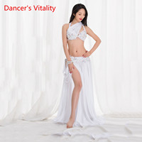 Women Sexy Belly Dance Show Wear Performance Oriental Dance Costume Handmade Luxury Drill Red White Suit Free Delivery