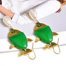 New Arrival moda zielona żywica ryby kolczyki wysokiej jakości długi spadek kolczyk hurtownia biżuterii akcesoria dla kobiet