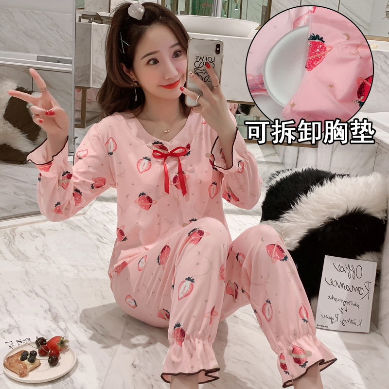 Long Sleeve Pajamas Women's Thin Qmilch Cartoon Bow Spring And Autumn Tracksuit With Deconstructable Chest Pad Underwear Set