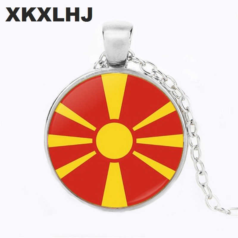 XKXLHJ Romania and Malta and Macedonia Flag Choker Necklace Bronze Color Necklace Angel Wings Pendant For Women Men Party