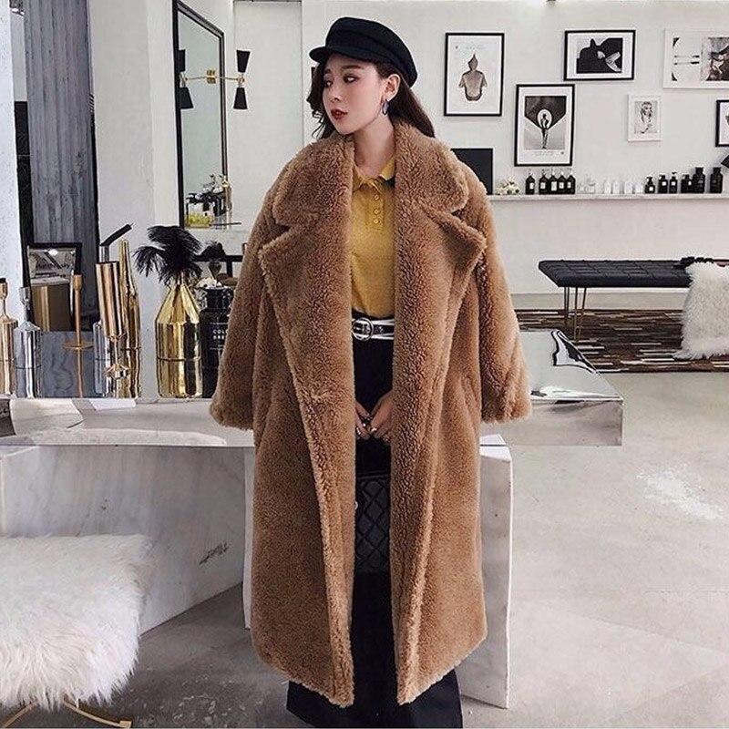 Femmes fourrure ours en peluche manteau en peluche 2019 automne hiver surdimensionné longs manteaux en peluche chaud à manches longues solide mode pardessus femme - 6