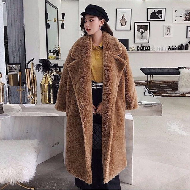 Women's Fur Teddy Bear Coat Plush 2020 Autumn Winter Oversize Long Coats Plush Warm Long Sleeve Solid Fashion Overcoat Female