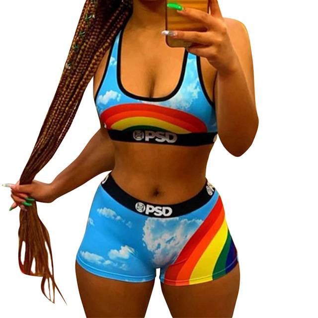 Women tracksuit Sexy 2 two piece set Sports bra+high waist shorts  women's clothing 2021 summer Beach Swimming sports Outfits 3