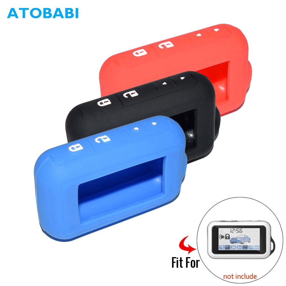 E60 ATOBABI 5 Cor Silicone Caso para Starline Dois Sentidos E93 E60 E63 E95 LCD Controle Remoto de Alarme de carro Chaveiro transmissor