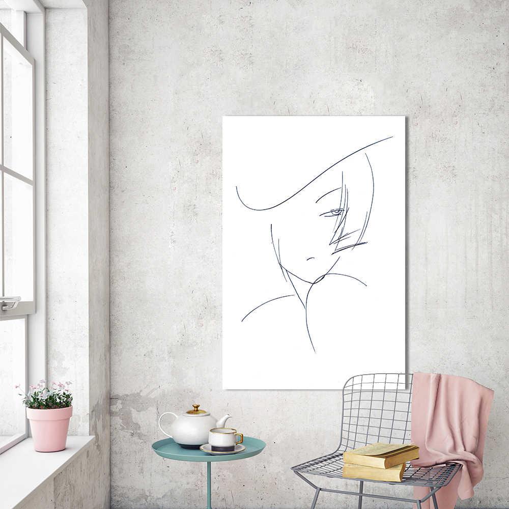 HDARTISAN pared arte figura cuadro lienzo pintura línea pintura al óleo para sala de estar decoración del hogar sin marco