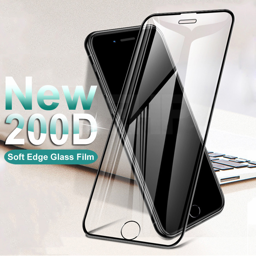 200D Curved Edge Tempered Glass On The For IPhone 6S 6 7 8 Plus X XS Glass XR 11Pro Xs Max Protective Screen Protector Film Case
