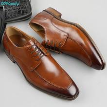 QYFCIOUFU Italian Cow Genuine Leather Formal Oxford Men Shoes Lace Up Pointed Toe Business Office Work Dress Shoes Male Footwear luxury men s oxford shoes genuine leather handmade black brown prints lace up pointed toe wedding office formal dress men shoes
