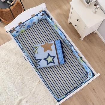 7PCS embroidery 100% Cotton Baby Nursery Comforter Cot Crib Bedding Set бортики в кроватку (4bumper+duvet+bed cover+bed skirt)