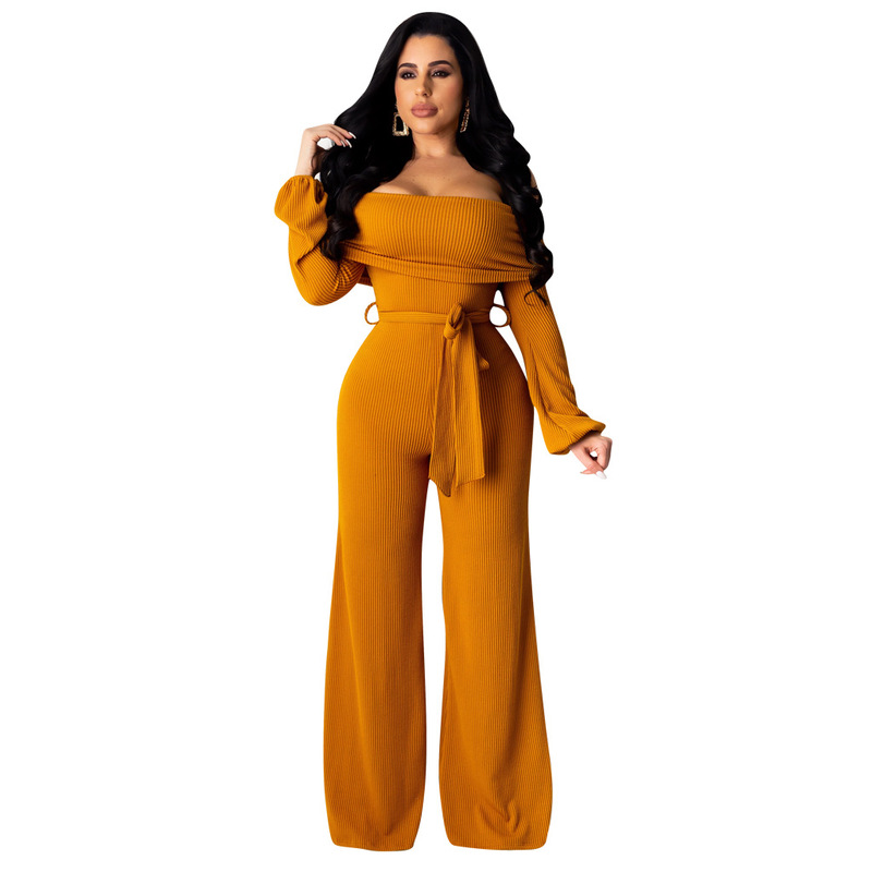 Fall Overalls Long Sleeve Autumn Rompers Womens Jumpsuit Wide Pants Plus Size Formal Elegant Jump Suit Body Mujer Open Shoulder