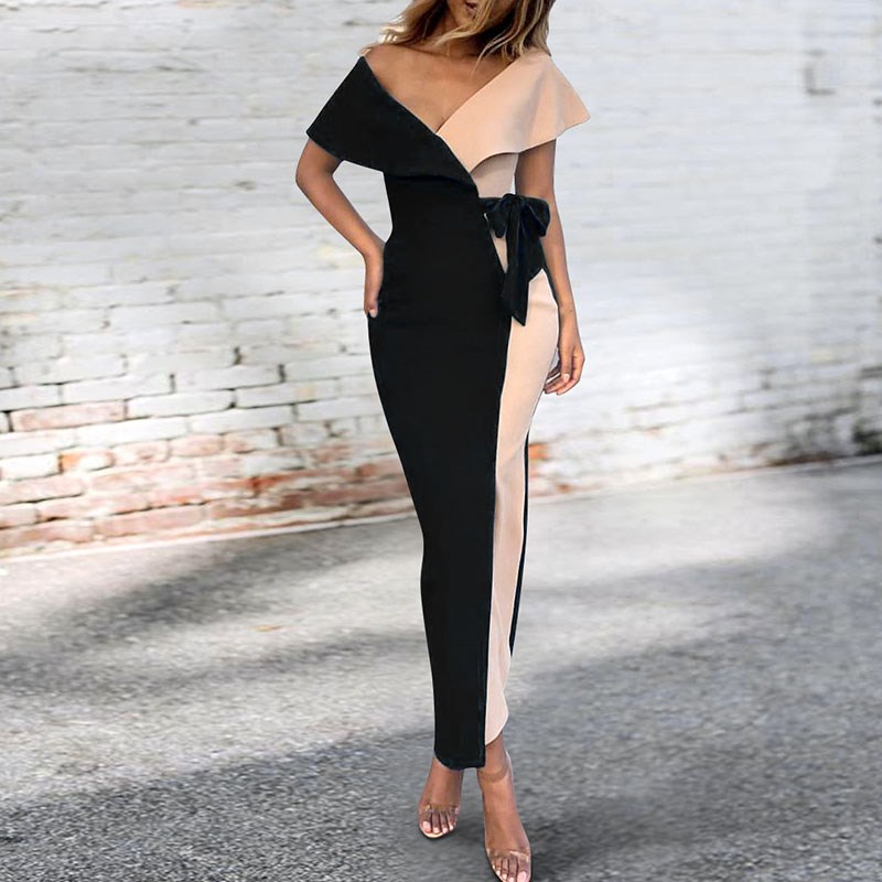 Plus Size Women Sexy V Neck Patchwork Bodycon Dress Fashion Sashes Empire Partydress Streetwear Summer Long Dresses
