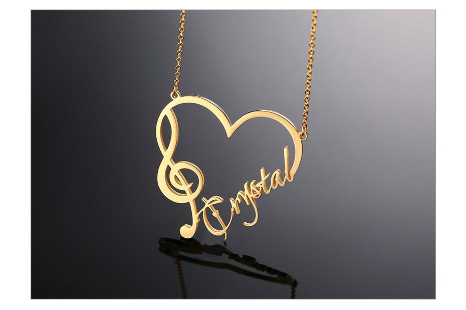 Elegant Heart Pendant Musician Treble Clef with your Name Personalized