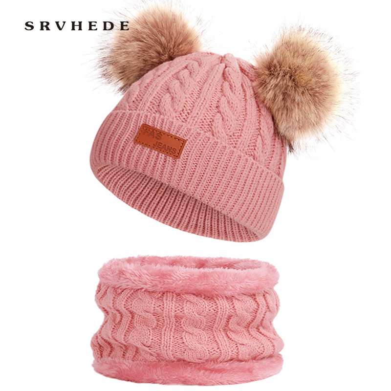 Winter Hat Baby Hat Scarf 2 Pieces Winter Hat Scarf For Girls Boys Pom Pom Beanies Scarves Set Kids Gift Accessories