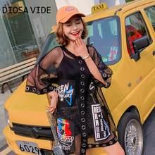 T-shirt à manches courtes pour femme, ample mi-long, modèles de plage ajourés, nouvelle collection été 2020 avec lettres, chic, grande taille