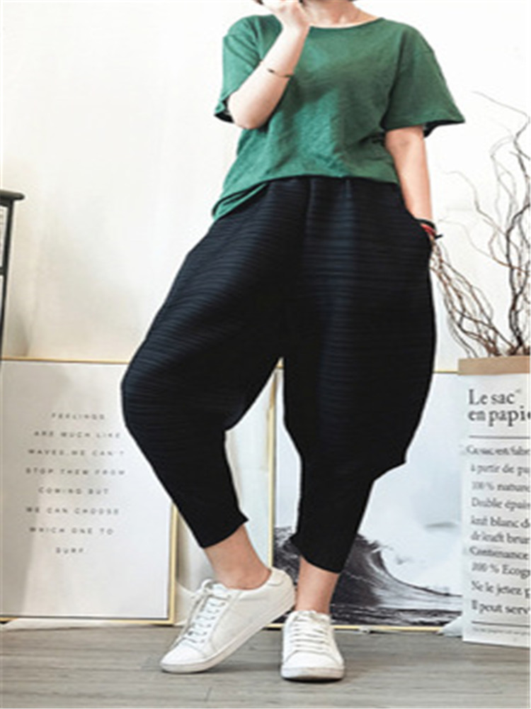2020 Issey Miyake Pleated Cropped Pants Harem Pants Loose Large Size Small Feet Pants Pleated Light Blue Wild Lady