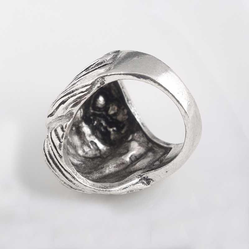 Punk Ring stal nierdzewna 316L fajna unikalna konstrukcja człowiek głowa Joker pierścionek biżuteria dla człowieka nigdy nie znikną wysokiej jakości