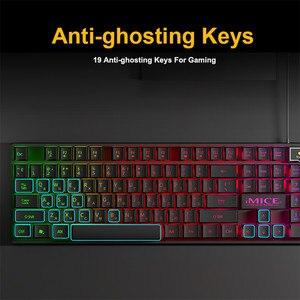 Image 4 - Wired Gaming Keyboard Led Backlit Keyboards 104 Keys Waterproof Keycaps Gamer Keyboards Computer Imitation Mechanical Keyboard