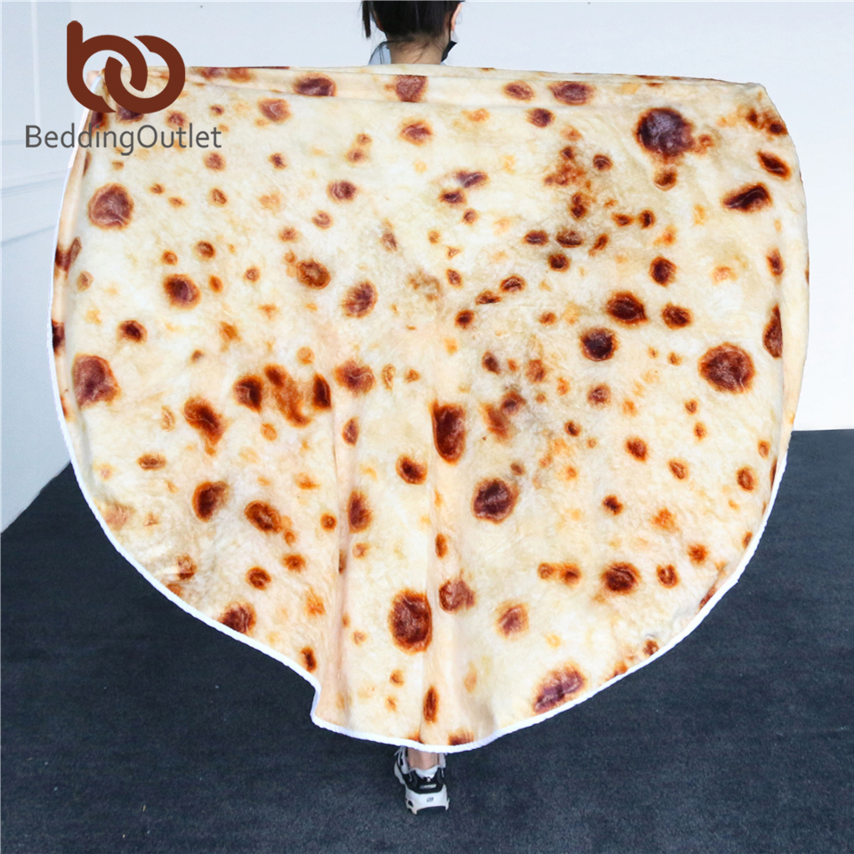 BeddingOutlet Pita Lavash Throw Blanket Corn Tortilla Flannel Bed Blanket Fleece Funny 3D Food Plush Bedspreads Koce Dropship